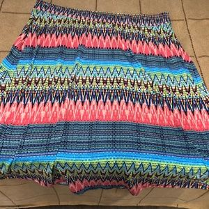 New Directions 3X Asymmetrical Hem Skirt Colorful